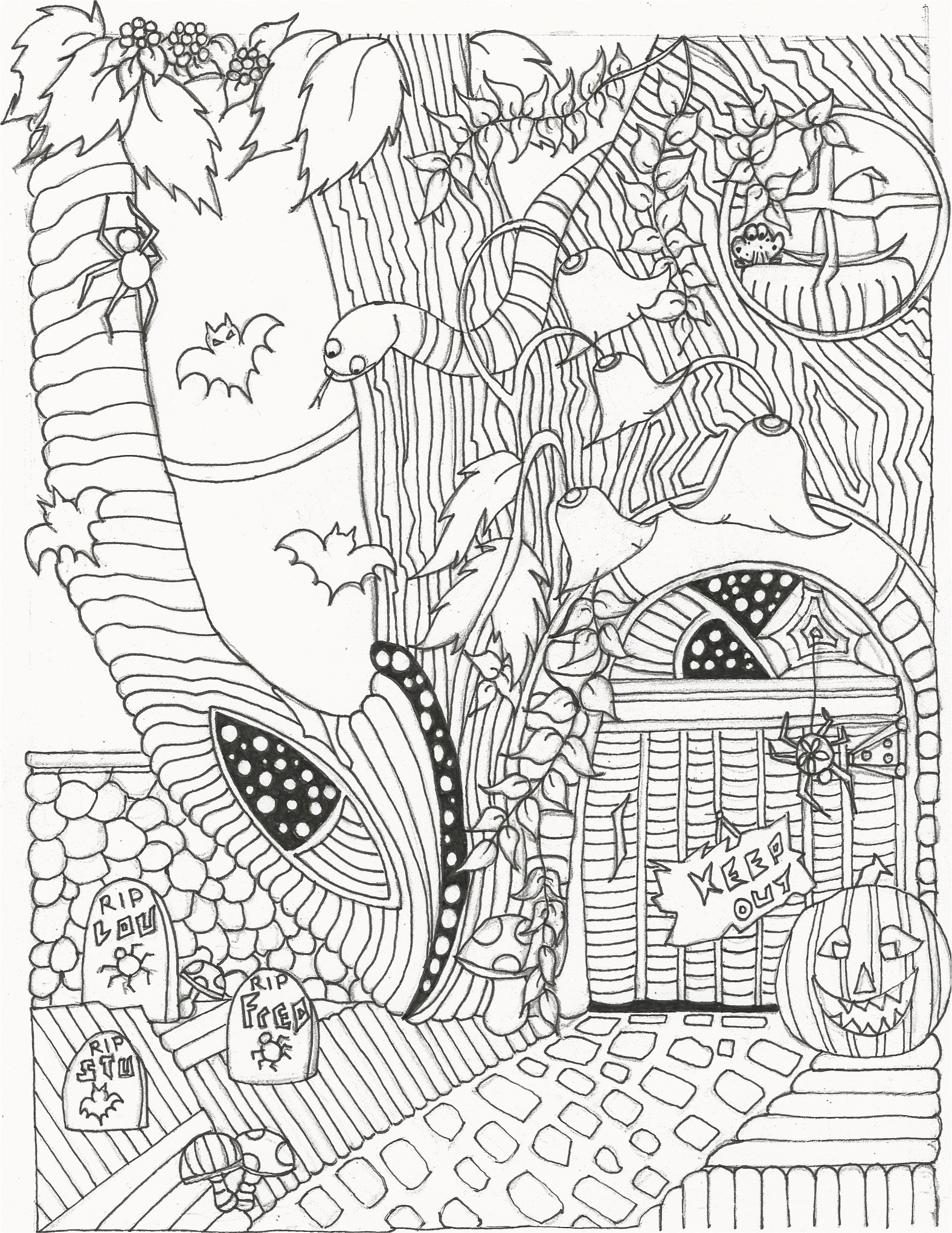 Halloween Adult Coloring Book Sample Image